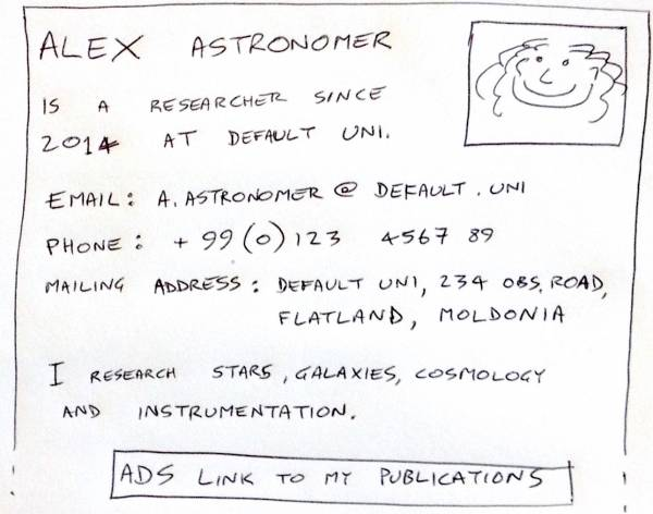 Sketch of the layout of a basic web page for a professional astronomer